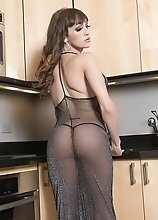 Kylie Maria is the kitchen slut and serves her throbbing cock on the table