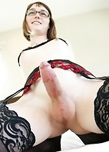 Claire pulls out her cock, makes it hard and strokes it just for you! Watch her playing with it until she cums!